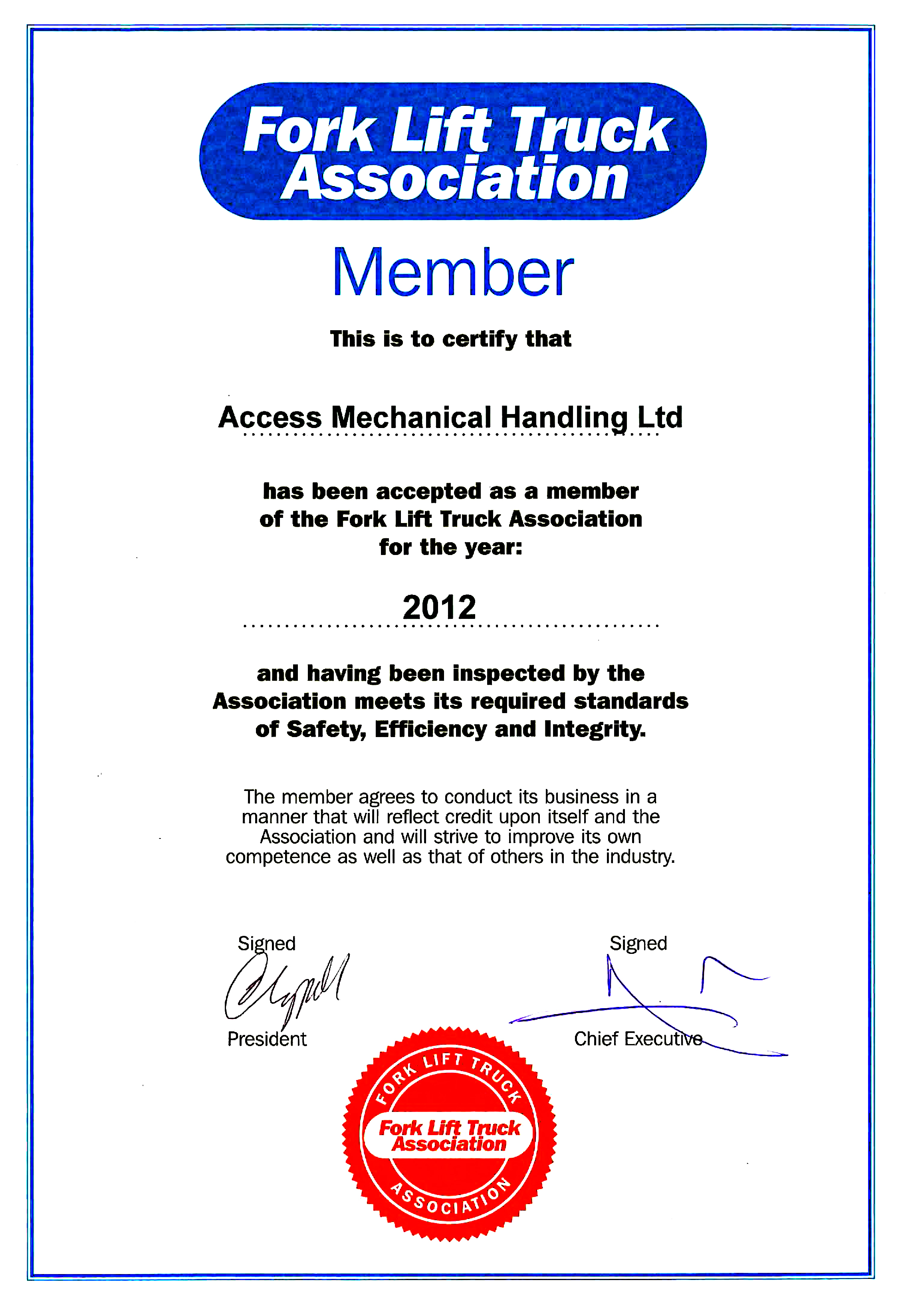 Accreditations and certifications access mechanical handling certificate of membership of the fork lift truck association please click here 1betcityfo Choice Image